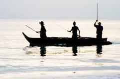 Zonsopgang die op het Eiland van Zanzibar vist Stock Afbeelding