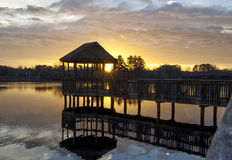 Zonsopgang door Gazebo Stock Foto's