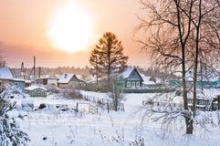 Zonsopgang in dorp Besovec Royalty-vrije Stock Foto's