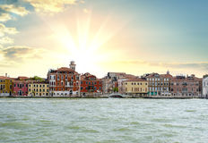 Zonsopgang in Grand Canal in Venetië Royalty-vrije Stock Foto