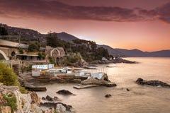 Zonsopgang in Italiaanse riviera Stock Foto's