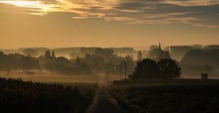 Zonsopgang in Oost-Vlaanderen royalty-vrije stock afbeelding