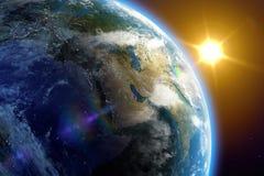 Zonsopgang op aarde Stock Illustratie