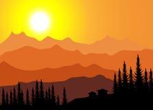 Zonsopgang op Berg Stock Illustratie