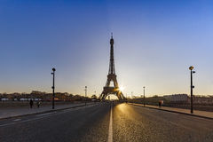 Zonsopgang op de Iena brug over Parijs Stock Foto's