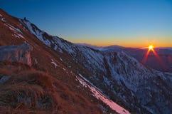 Zonsopgang op de Italiaanse Alpen Stock Fotografie