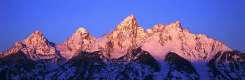 Zonsopgang op Grote Tetons, het Nationale Park van Grand Teton, Wyoming Royalty-vrije Stock Afbeeldingen