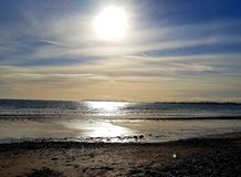 Zonsopgang op het strand royalty-vrije stock fotografie