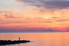 Zonsopgang op het strand in de ochtend Royalty-vrije Stock Foto