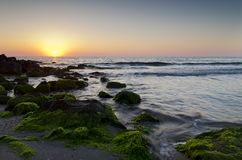Zonsopgang op het strand in Pomorie-toevlucht Stock Foto's