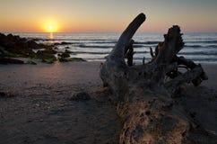 Zonsopgang op het strand in Pomorie-toevlucht Royalty-vrije Stock Foto's