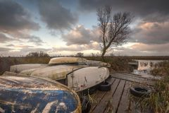 Zonsopgang op Norfolk broads stock afbeeldingen