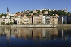 Zonsopgang op Saone-rivier in Lyon Stock Afbeeldingen