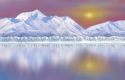 Zonsopgang op sneeuw afgedekte bergen met bezinning vector illustratie
