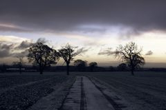 Zonsopgang op Staffordshire platteland op de winterochtend stock afbeelding