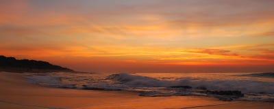Zonsopgang op strand Stock Foto's