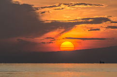 zonsopgang op zee in Indonesië Stock Foto