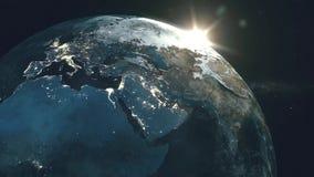 Zonsopgang over aardemening van ruimte stock illustratie