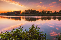 Zonsopgang over bosmeer bij platteland stock fotografie