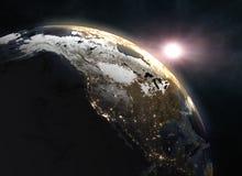 Zonsopgang over de Aarde - Noord-Amerika Stock Foto