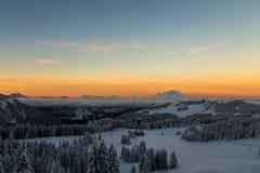 Zonsopgang over de Alpen royalty-vrije stock foto