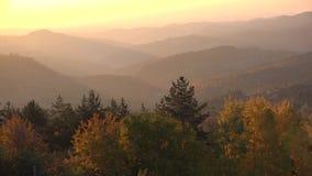 Zonsopgang over de herfstvallei en bergen, warm licht schitterend landschap stock video