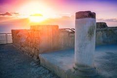 Zonsopgang over de ruïnes van het paleis van Koning Herod stock foto's