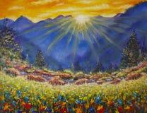 Zonsopgang over een bloemweide in de bergen Royalty-vrije Stock Foto