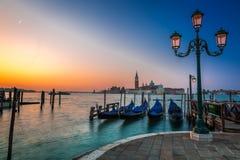 Zonsopgang over Grand Canal in Venetië Royalty-vrije Stock Foto