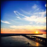 Zonsopgang over Harborwalk, Destin, Florida stock afbeelding