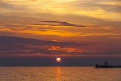 Zonsopgang over het Balaton-meer, Hungaru Royalty-vrije Stock Foto