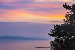 Zonsopgang over het Balaton-meer, Hungaru Royalty-vrije Stock Afbeelding