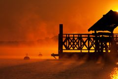 Zonsopgang over het meer Zegrze 5 Royalty-vrije Stock Afbeelding