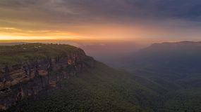 Zonsopgang over Jamison Valley Blue Mountains Stock Foto