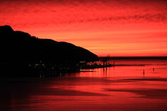Zonsopgang over Lyttelton en Haven Royalty-vrije Stock Foto's