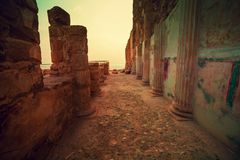Zonsopgang over Masada-vesting Ruïnes van het paleis van KoningsHerod ` s stock foto