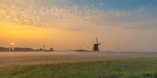 Zonsopgang over Nederlandse windmolens Stock Foto's