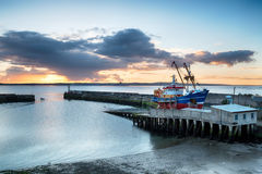 Zonsopgang over Newlyn-Haven Royalty-vrije Stock Foto