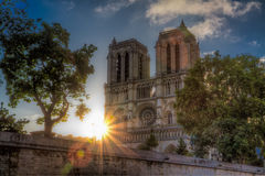 Zonsopgang over Notre Dame Royalty-vrije Stock Afbeelding