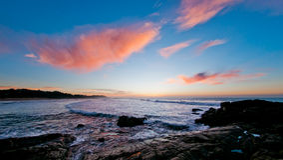 Zonsopgang over oceaan, Zuid-Afrika Royalty-vrije Stock Fotografie
