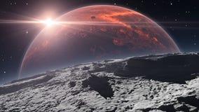 Zonsopgang over Phobos met rode planeet Mars op de achtergrond vector illustratie