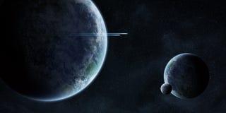 Zonsopgang over planeten in ruimte royalty-vrije illustratie