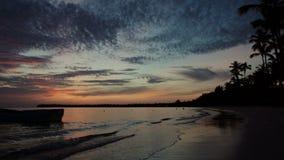 Zonsopgang over tropische eilandstrand en palmen stock footage