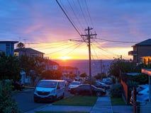 Zonsopgang over Vreedzame Oceaan, Sydney, Australië stock foto