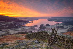 Zonsopgang over Windermere Royalty-vrije Stock Fotografie