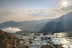 Zonsopgang over YuanYang-rijstterrassen in Yunnan, China, één van de recentste Unesco-Plaatsen van de Werelderfenis stock afbeeldingen