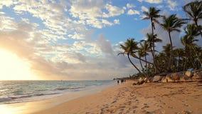 Zonsopgang, overzees en tropisch eilandstrand Punta Cana, Dominicaanse republiek Palmen rond stock footage