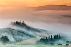 Zonsopgang in platteland van Toscanië, Italië royalty-vrije stock afbeelding