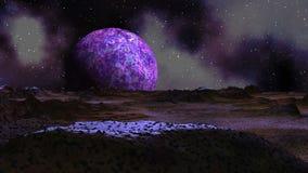 Zonsopgang purpere planeet stock illustratie