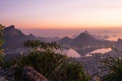 Zonsopgang in Rio de Janeiro, Brazilië Stock Foto